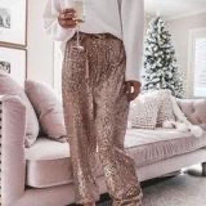 Party Pants-Casual-Chic sequin pants in Rose Gold